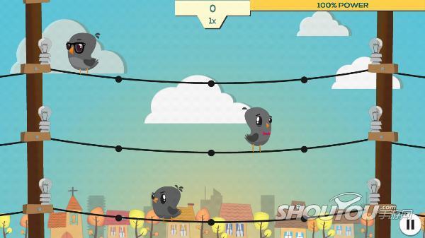 游戏开始,三只小鸟分别呆在三根电线杆上,每根电线杠都不定时有电流